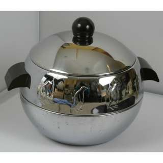 West Bend Penguin Hot Cold Server Ice Bucket Chrome Bakelite Handles