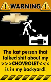 Chevrolet Truck Car Decal Sticker Warning Sign   1
