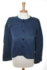 CHANEL FauxDenim Cotton Cardigan Sweater w/ CC Buttons&Denim Like