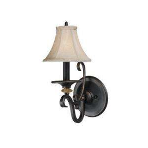 Hampton Bay Casabel Collection 1 Light Brunette Wall Sconce with Beige