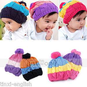 New Cute Sweet Baby Kids Children Girls Boys Stretchy Warm Winter Cap