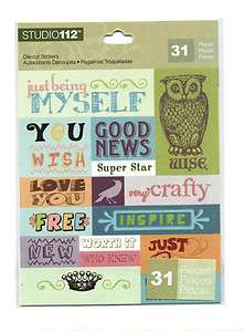 Wise Owl Word and Phrase Sticker sheet w/ 31 stickers & Copper