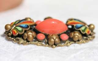 GORGEOUS VINTAGE ANTIQUE CZECH DECO ENAMEL CORAL GLASS BROOCH PIN