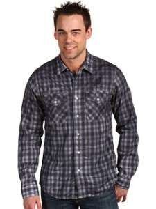 ROCK REVIVAL MENS GREY PLAID SHIRT RWSO23L