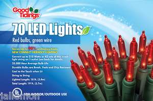 GOOD TIDINGS 20103 70ct ULTIMATE RED LED CHRISTMAS LIGHT SET 0153858