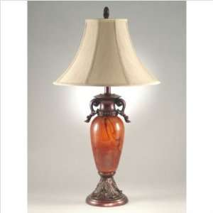 Art Glass Two Light Table Lamp in Antique Brass