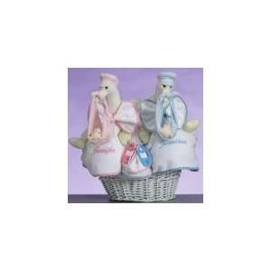 Stork Twin Basket New Baby Gift, Pink/Blue