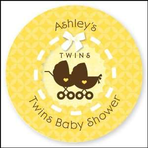 Twin Neutral Baby Carriages   24 Round Personalized Baby