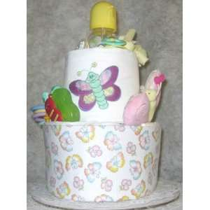 2 Tier Butterfly Baby Diaper Cake Toys & Games