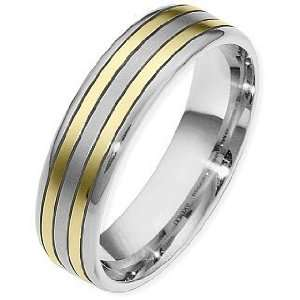 Classic 6mm 14 Karat Two Tone Gold Wedding Band Ring   10.75 Jewelry