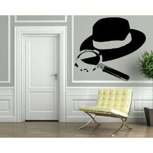 Detective Hat Magnifying Glass Crime Wall Mural Vinyl Art
