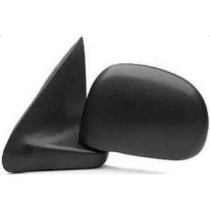 Door Mirror, Manual, Rectangular Style, Black, Textured, Drivers Side