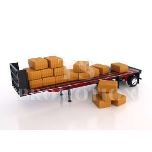 132 scale Flatbed trailer with Hay Bales Toys & Games