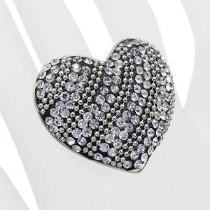 Duo Tone Crystal Pave Heart Stretch Ring Antique Silver Jewelry