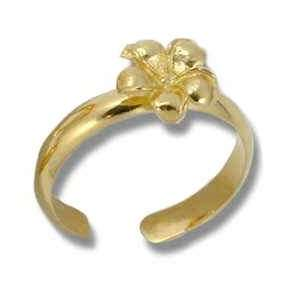 Hawaiian Heirloom Jewelry 14k Gold Finish Flower Toe Ring Jewelry