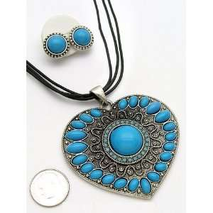 Western Cowgirl Turquoise Heart Shape Gypsy Necklace