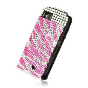 Ecell   HOT PINK ZEBRA LEATHER BLING FLIP CASE FOR NOKIA