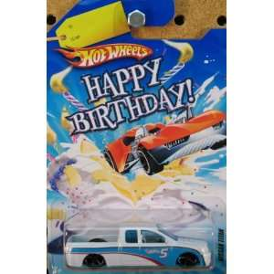 Hot Wheels Happy Birthday Cars NISSAN TITAN truck white blue racing