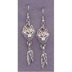 Native American Wolf Head Earrings With Feather