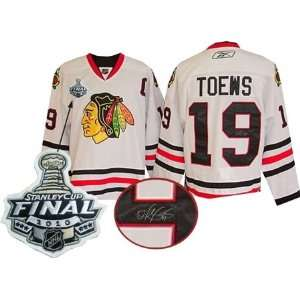 Jonathan Toews Autographed/Hand Signed Jersey Blackhawks White Replica