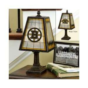 BOSTON BRUINS Team Logo Hand Painted ART GLASS TABLE LAMP (14 Tall