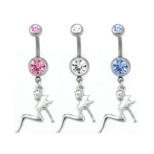 Mud Flap Girl Gem Belly Ring Mixed CZ Stones Jewelry