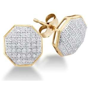 Two Tone Gold Micro Pave Set Round Diamond Octagon Shape Stud Earrings