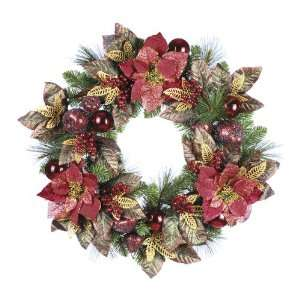 24 Glittered Mixed Pine & Poinsettia Christmas Wreath