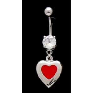 Red Enamel Heart Dangle Belly Ring with CZ Stone 316l Surgical Steel