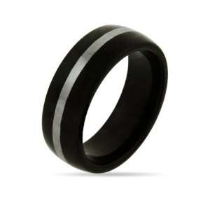 Mens Black Plate Tungsten Ring with Silver Stripe Size 10 (Sizes 9 10