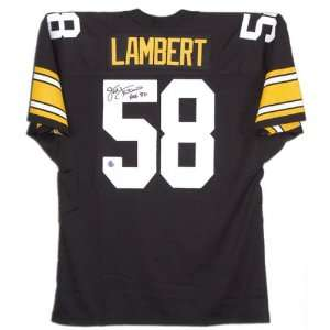 Jack Lambert Autographed Custom Throwback Jersey with Hall