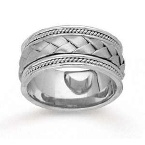14k White Gold Grand Weave Hand Carved Wedding Band Jewelry