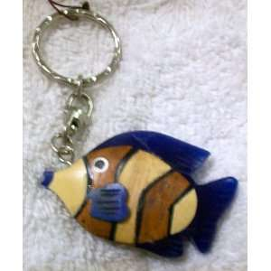 Wooden Hand Crafted Fish Head Key Ring, Key Chain, Key