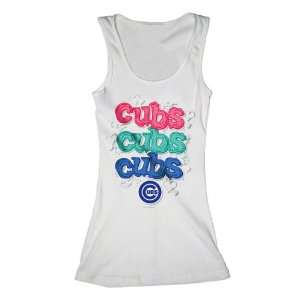 Chicago Cubs White Girls Ribbed Tank Top  Sports