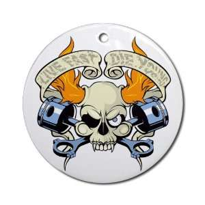 Ornament (Round) Live Fast Die Young Skull