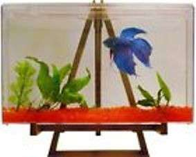 GALLON BETTA FISH TANK AQUARIUM KIT WITH ART EASEL STAND & ACCESSORIES