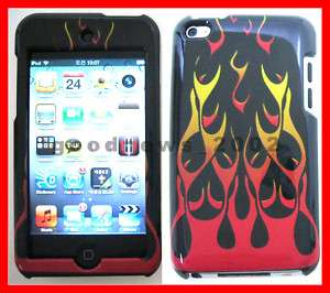 RED FLAME HARD COVER CASE for APPLE iPOD TOUCH 4 4TH 4G