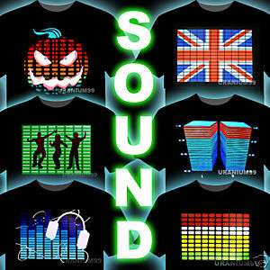 SOUND ACTIVATED LED EQUALIZER T SHIRT DJ DANCE HIP HOP