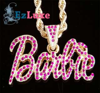 ICED NICKI MINAJ Barbie Pendant Ladies Hip Hop Necklace