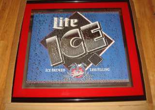 New Miller Lite Ice Beer Mirror Sign w/ Frame Large 29 x 32 NIB