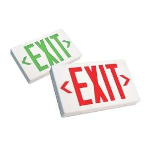 LED Exit Sign with Battery Backup in Black Finish Red Letters with