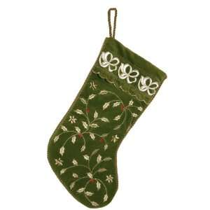 Good Tidings 8782227G Green Velvet Christmas Stocking